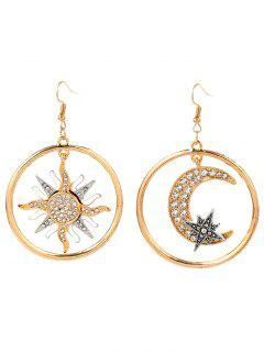 Asymmetric Moon Sun Star Round Earrings - Golden
