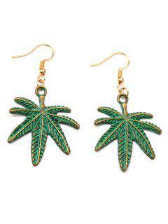 Alloy Coconut Leaf Earrings - Green