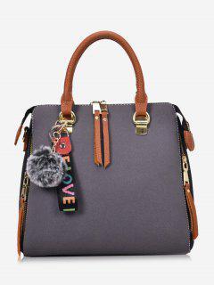Faux Leather Pompom Letter Zip Handbag - Gray