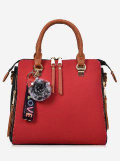 Faux Leather Pompom Letter Zip Handbag - Red