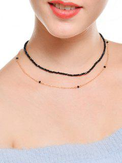 Faux Crystal Layered Collarbone Beaded Necklace - Golden