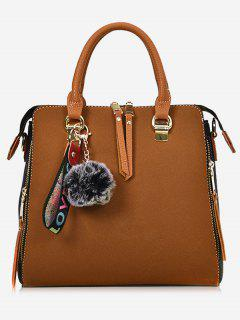 Faux Leather Pompom Letter Zip Handbag - Brown