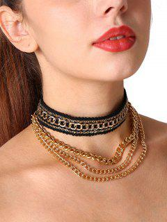 Braid Layered Fringed Chain Choker Necklace - Golden