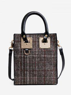 Metal Plaid Handbag - Red
