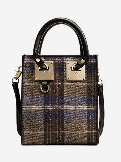 Metal Plaid Handbag - Blue