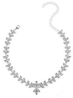 Collar De Clavícula De Hoja De Diamantes De Imitación De Aleación - Plata