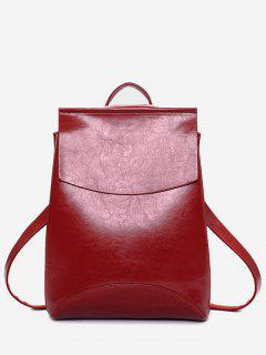 PU Leather Portable Backpack With Handle - Red