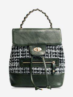 Plaid Color Block String Backpack - Green