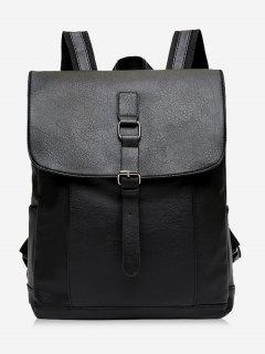 Buckle Strap PU Leather Backpack - Black