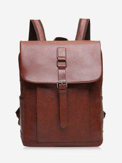 Buckle Strap PU Leather Backpack - Light Brown
