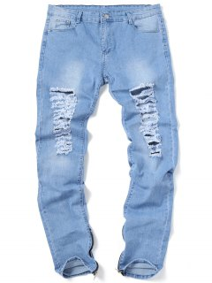 Zip Hem Ripped Jeans - Light Blue 32