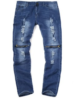 Zip Knee Ripped Jeans - Deep Blue 34