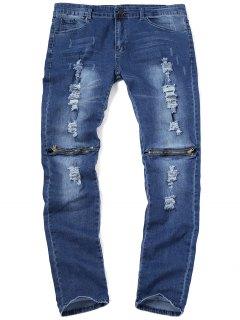 Jeans Con Cremallera En La Rodilla - Marina De Guerra 34