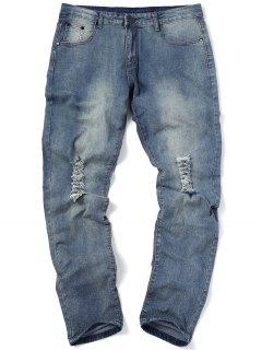 Dünne Zerrissene Jeans - Denim Blau 32
