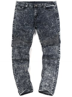 Snow Wash Biker Jeans - Black 32