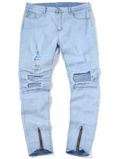 Zip Hem Rippped Biker Jeans - Light Blue 32