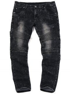 Skinny Snow Wash Biker Jeans - Black 32