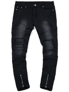 Zip Hem Biker Jeans - Black 38