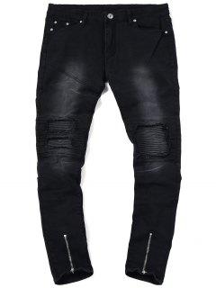 Zip Hem Biker Jeans - Black 32