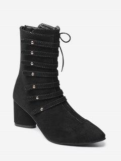Pointed Toe Lace Up Block Heel Boots - Black 34
