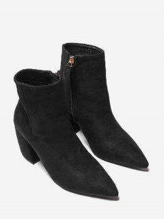 Pointed Toe Side Zip Chunky Heel Boots - Black 39