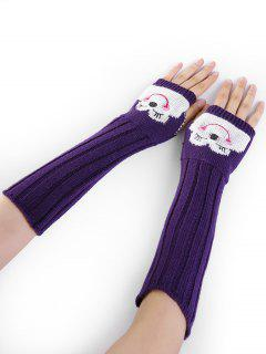 Cartoon Pattern Embellished Knitted Fingerless Arm Warmers - Purple