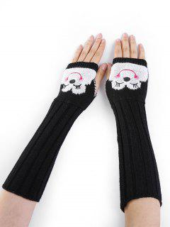 Cartoon Pattern Embellished Knitted Fingerless Arm Warmers - Black