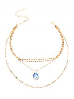 Alloy Oval Goddess Pendant Layered Necklace - Golden