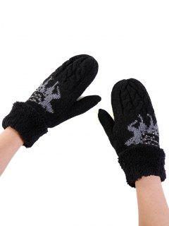 Elk Pattern Decoration Rhinestone Knitted Gloves - Black