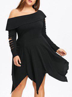 Robe Mouchoir Découpée à Une épaule Nue Grande Taille - Noir 5xl