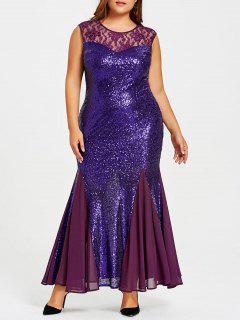 Vestido Sirena Con Lentejuelas Talla Grande - Púrpura 3xl