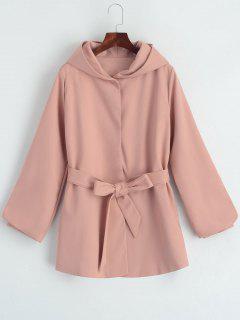 Manteau à Capuche Ceinturé à Bouton-Pression - Rose PÂle M