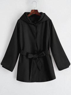 Hooded Belted Snap Button Coat - Black Xl