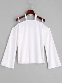 Zurück Ausgeschnittene Kalte Schulter Top - Weiß Xl