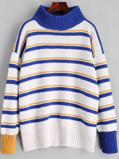 Pullover Turtleneck Stripes Sweater - Blue