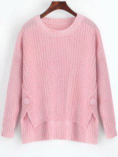 Buttoned Side Slit High Low Sweater - Pink