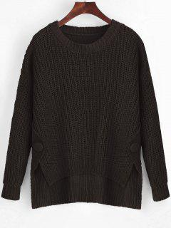 Buttoned Side Slit High Low Sweater - Deep Brown