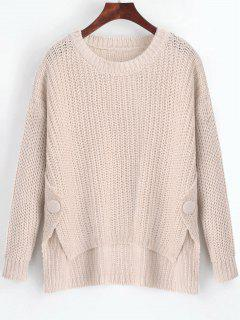 Buttoned Side Slit High Low Sweater - Light Apricot