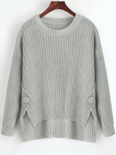 Buttoned Side Slit High Low Sweater - Gray