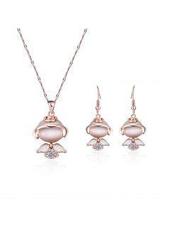 Little Angle Faux Diamant Anhänger Halskette Mit Ohrringen - Golden