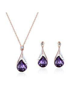 Faux Crystal Water Drop Pendant Necklace With Earrings - Purple