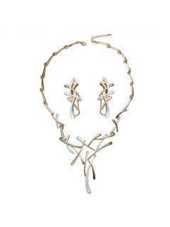Branch Chainsaw Necklace And Clip Earrings - White