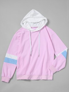 Drawstring Color Block Oversized Hoodie - Pinkish Purple M