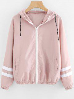 Zip Up Contrast Ribbons Trim Jacket - Pink M