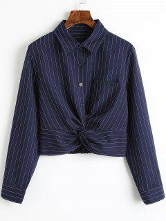 Twist Cropped Stripes Shirt - Stripe M