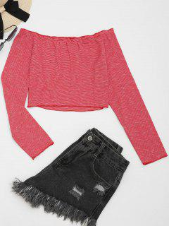 Off The Shoulder Striped Crop Tee - Red M