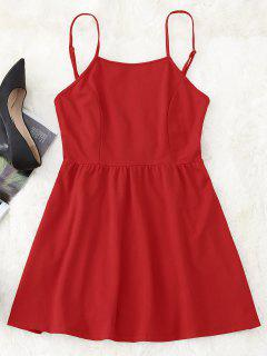 Open Back Mini Cami Kleid - Rot Xl