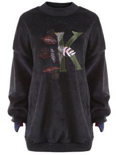 Plus Size Letter Embroidered  Fleece Sweatshirt - Black 5xl