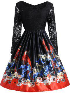 Vintage Lace Panel Floral Print Dress - Black M