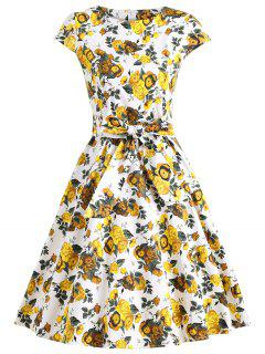 Retro Floral Fit And Flare Swing Dress - Yellow L